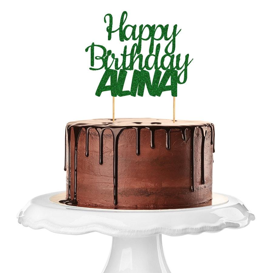 Cake Topper Happy Birthday personalisiert individuell in gruen glitzer mit dem Namen Alina