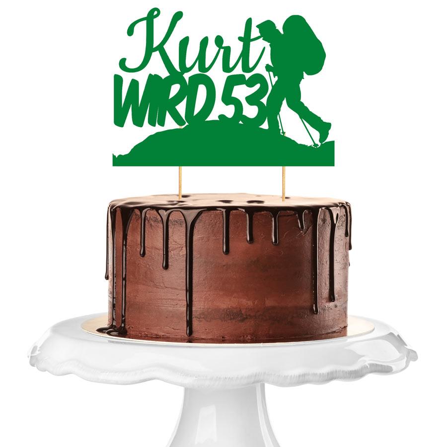 Brauner Kuchen mit Cake Topper in grüner Farbe mit Bergsteigermotiv und Geburtstagszahl