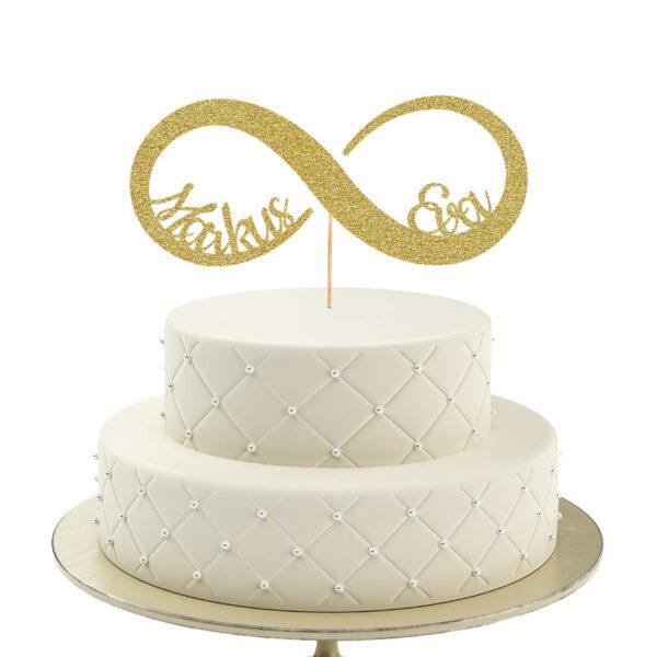 Caketopper Hochzeit mit Unendlichkeits Symbol in gold glitzer personaliert mit Namen der Ehepaare